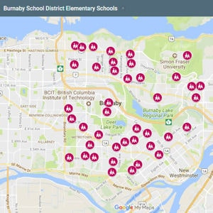Burnaby BC Elementary Schools Map
